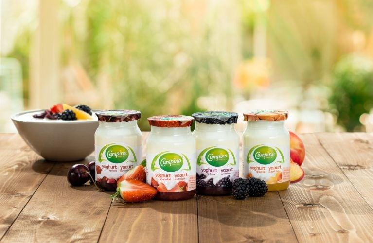 Packshots de yaourt sur une table